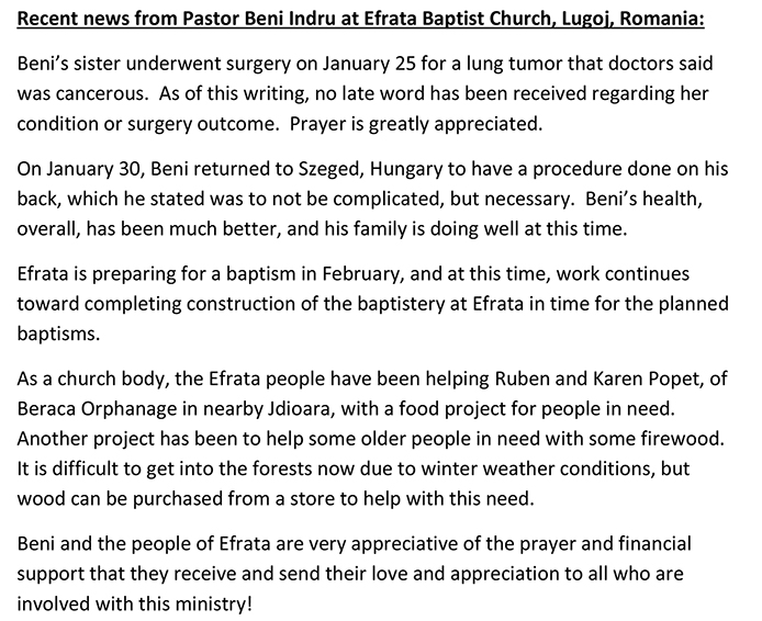 Recent news from Pastor Beni Indru at Efrata Baptist Church
